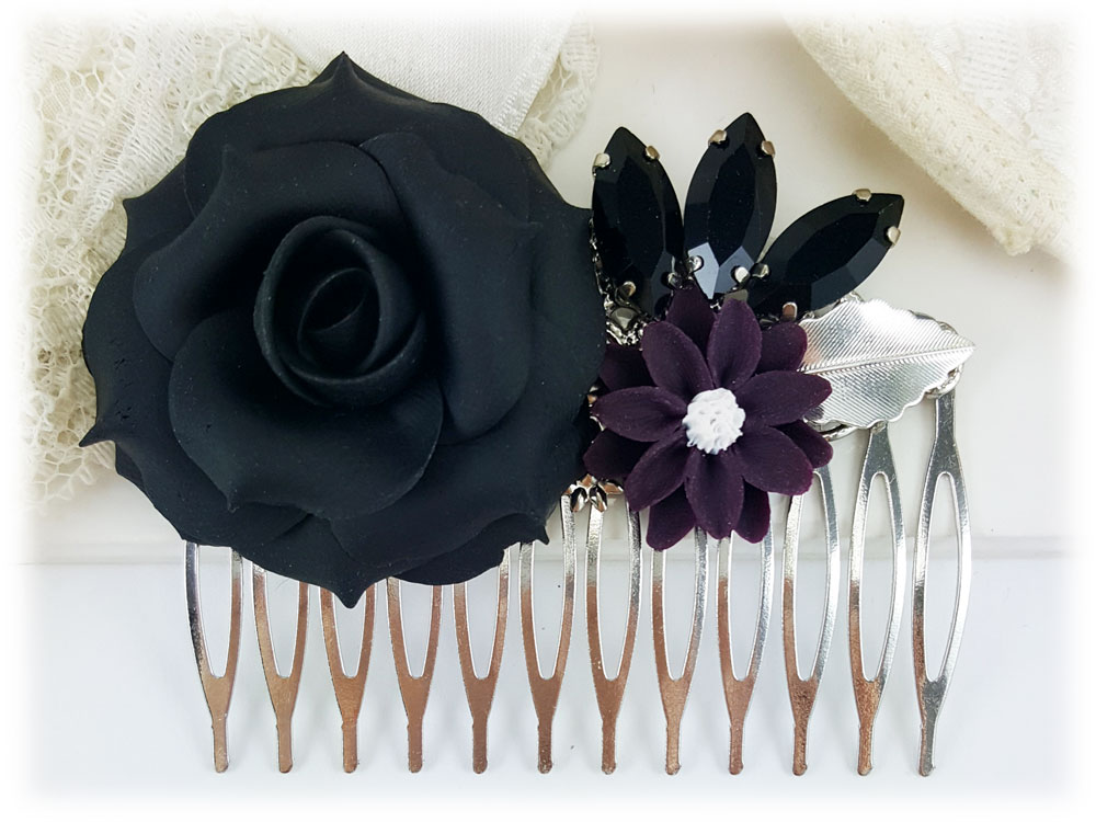 Black Rose Hair Comb