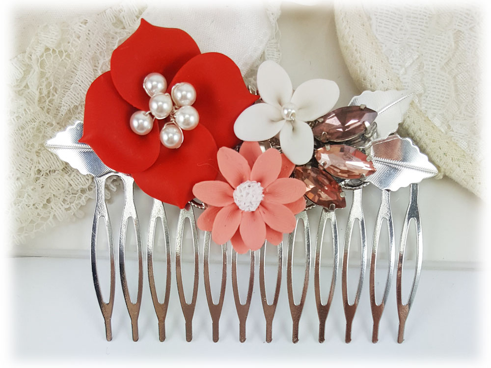 Coral Flower Hair Comb