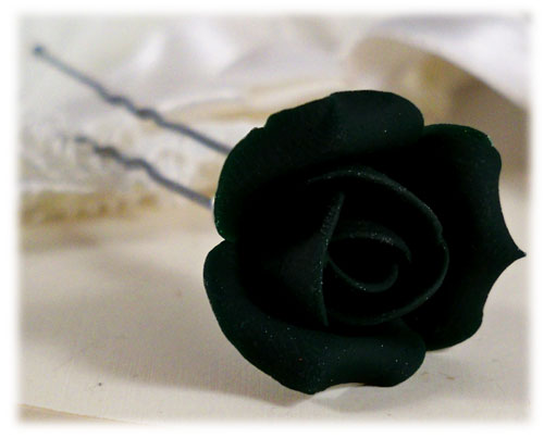 Black Rosebud Hair Pins Black Rosebud Hair Clips