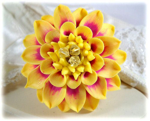 Yellow dahlia brooch pin yellow dahlia lapel yellow dahlia brooch pin mightylinksfo