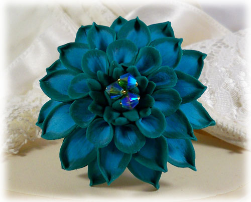 Turquoise Dahlia Brooch Pin Turquoise Dahlia Accessory