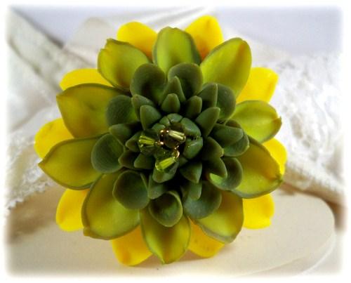 Yellow green dahlia brooch pin green dahlia lapel yellow green dahlia brooch pin mightylinksfo