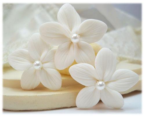 Stephanotis Pearl Hair Pins White Stephanotis Hair Clips