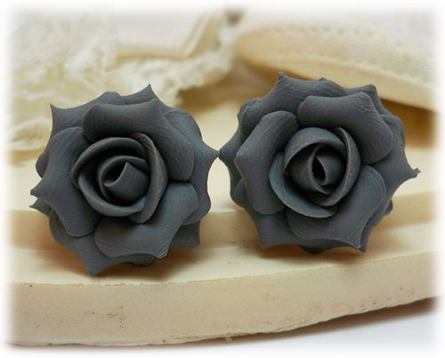 Gray Charcoal Rose Earring Studs