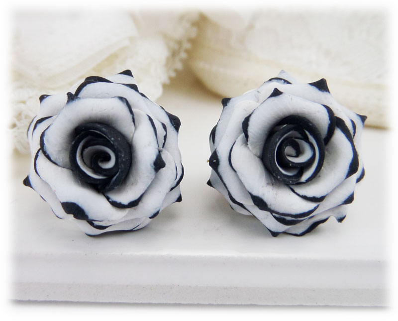 black tipped white rose earrings stud metal clip ons stranded