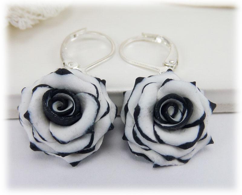Black Tipped White Rose Drop Earrings Stranded Treasures