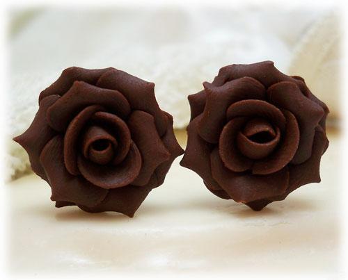 Brown Chocolate Rose Stud Earrings
