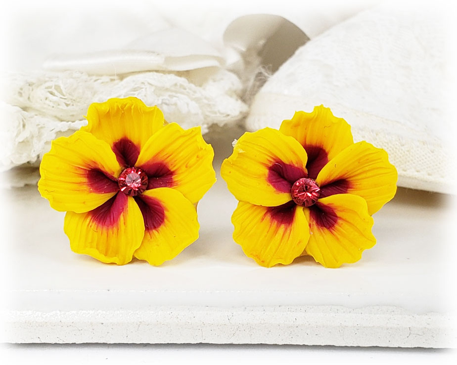 Yellow hawaii hibiscus stud earrings clip on earrings yellow hawaii hibiscus stud earrings mightylinksfo