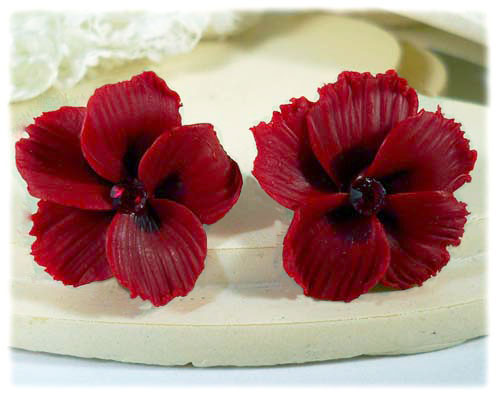 Red Hawaii Hibiscus Stud Earrings