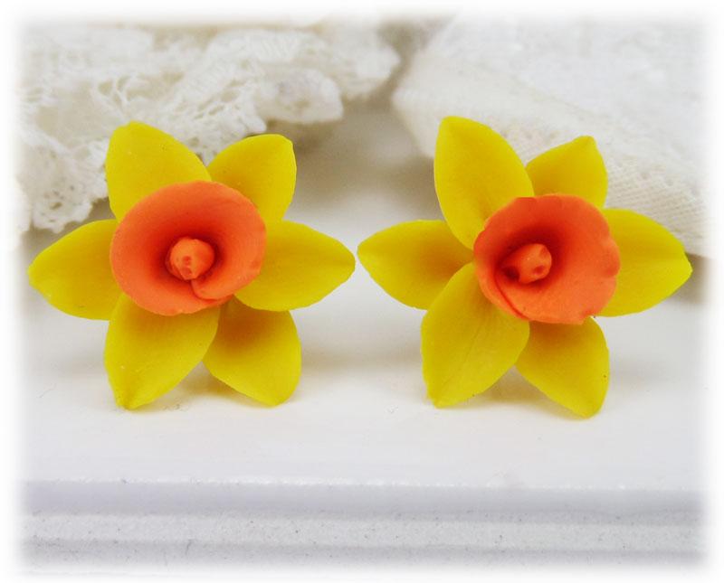 yellow orange daffodil stud earrings  u0026 clip on earrings