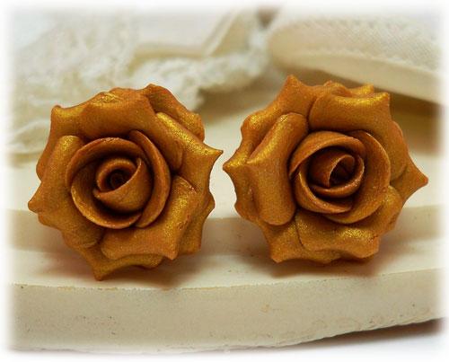 Metallic Gold Rose Stud Earrings