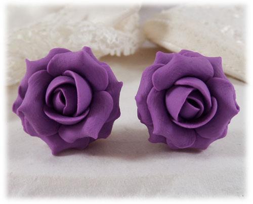 Amethyst Purple Rose Stud Earrings Amp Clip On Earrings