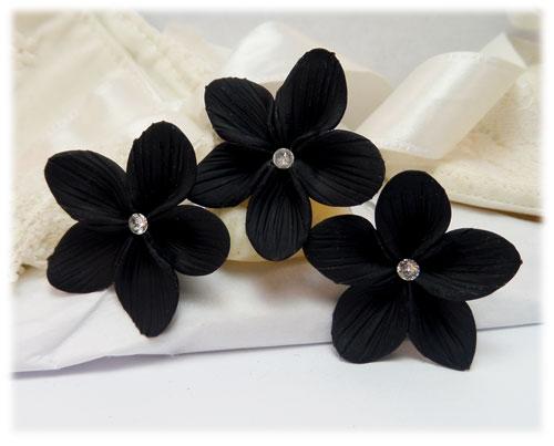 Black crystal hair flower black flower hair pins black flower hair pins mightylinksfo