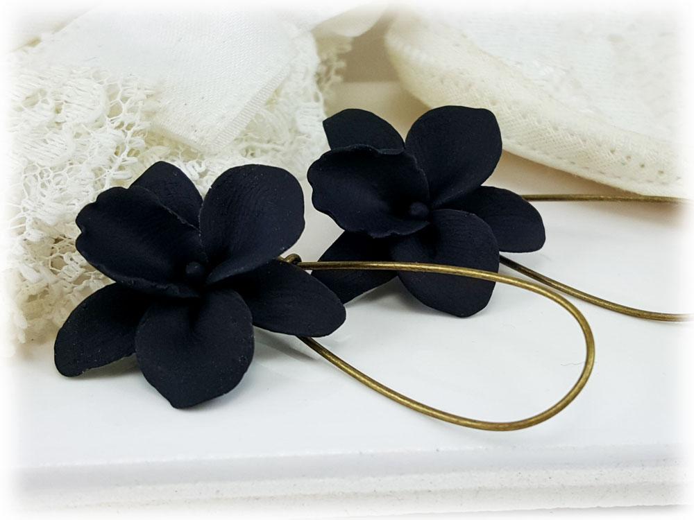 Black Orchid Flower Drop Earrings Dangle Earrings Stranded Treasures