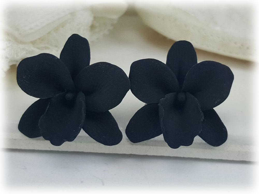 Black Orchid Flower Stud Earrings Clip On Earrings