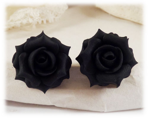 black rose stud earrings black rose clip on earrings