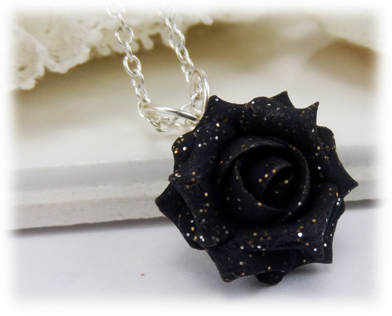 Black Rose Glitter Necklace Black Gitter Jewelry