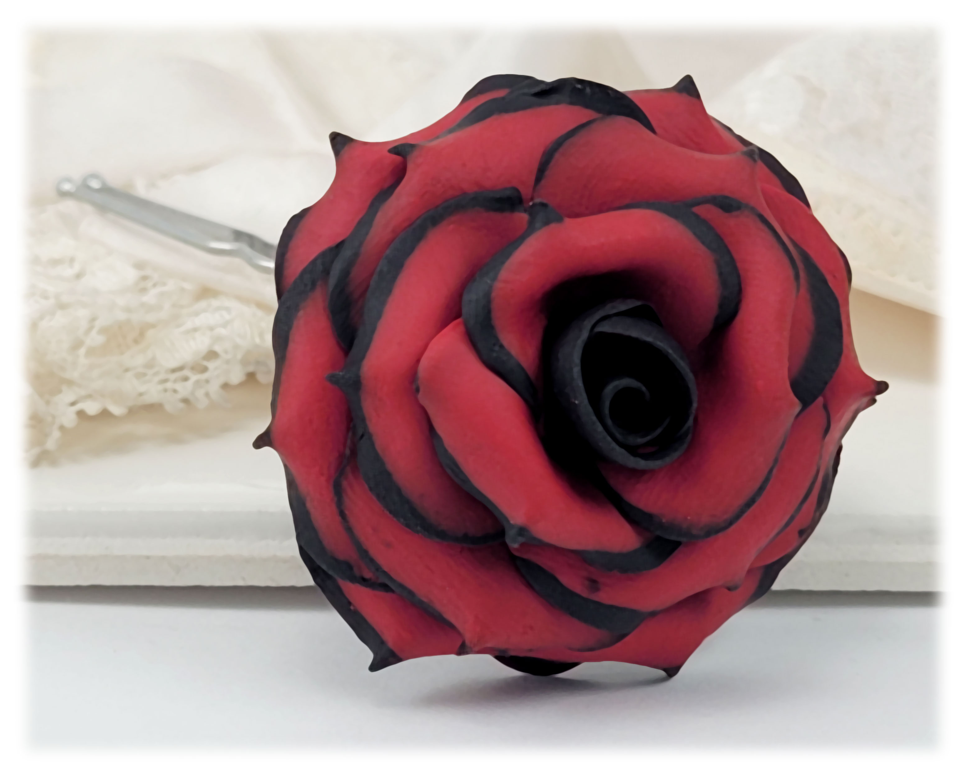 Black Tipped Red Rose Hair Flowers Black And Red Flowers