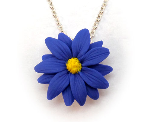 Blue Aster Flower Necklace Blue Aster Jewelry Stranded