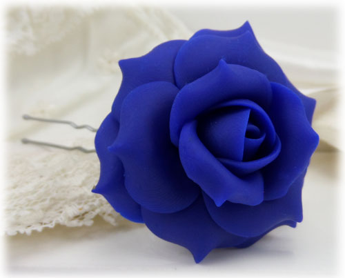 Blue Rose Hair Pins Blue Rose Hair Clips Stranded