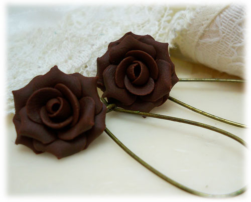 Chocolate Brown Rose Drop Earrings Amp Dangle Earrings