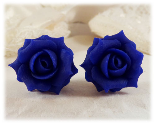 Blue Cobalt Rose Stud Earrings