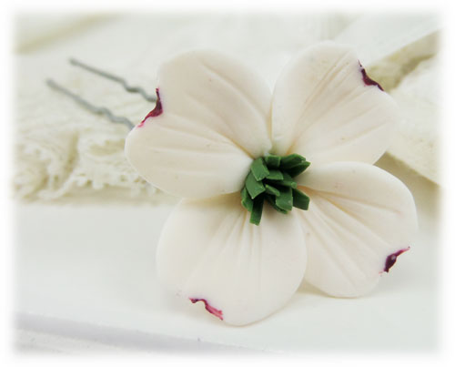 Dogwood flower hair pins white dogwood hair clips stranded treasures dogwood hair pin mightylinksfo