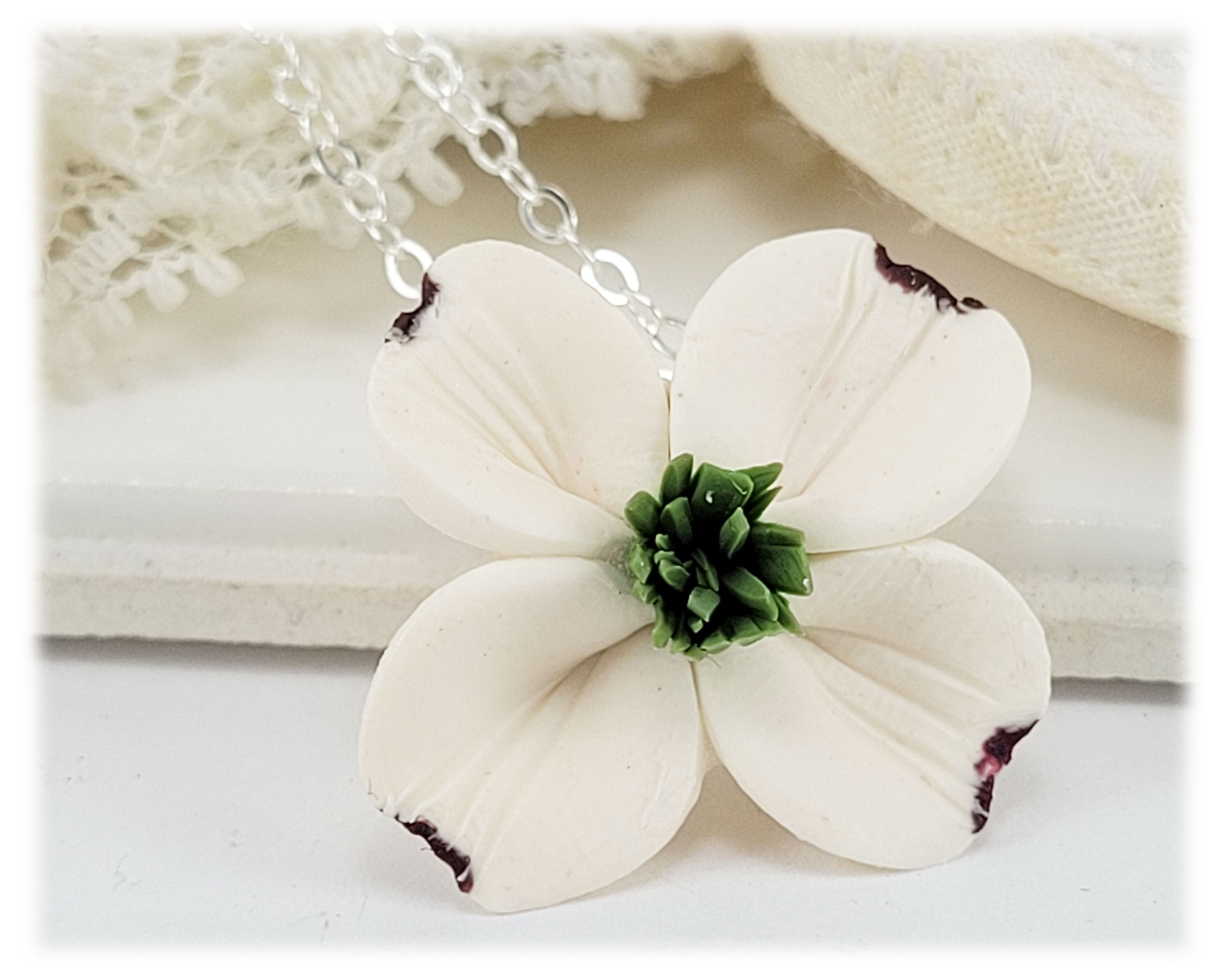 Dogwood flower necklace white dogwood pendant stranded treasures dogwood necklace mightylinksfo