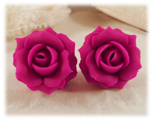 fuchsia hot pink rose stud earrings amp clip on earrings