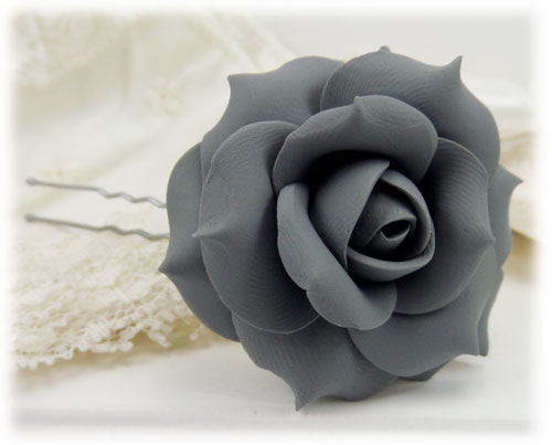 Gray Rose Hair Pins Gray Rose Hair Clips