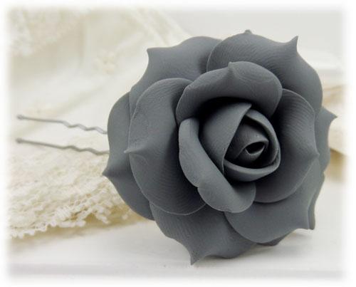 Gray Rose Hair Pins Gray Rose Hair Clips