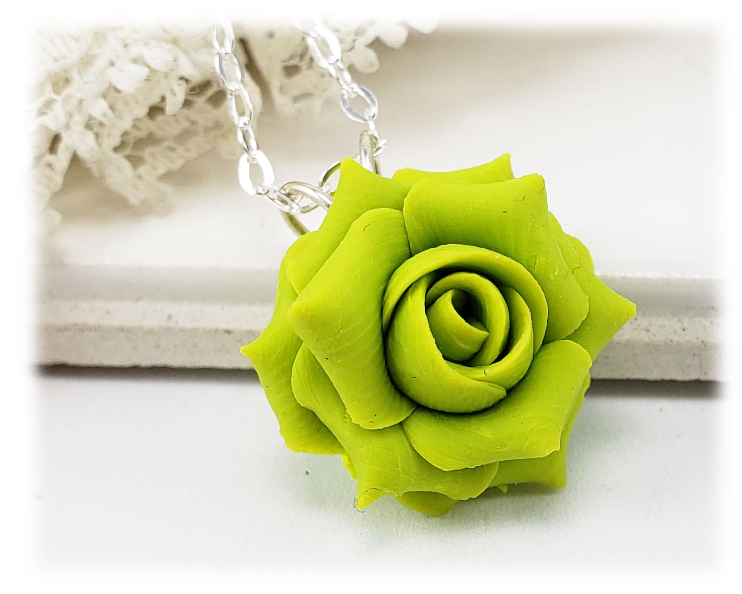 Green Rose Necklace Green Rose Jewelry Stranded Treasures