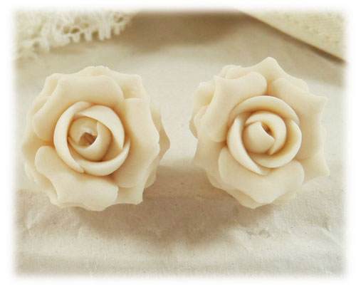 Ivory Rose Stud Earrings Ivory Rose Clip On Earrings
