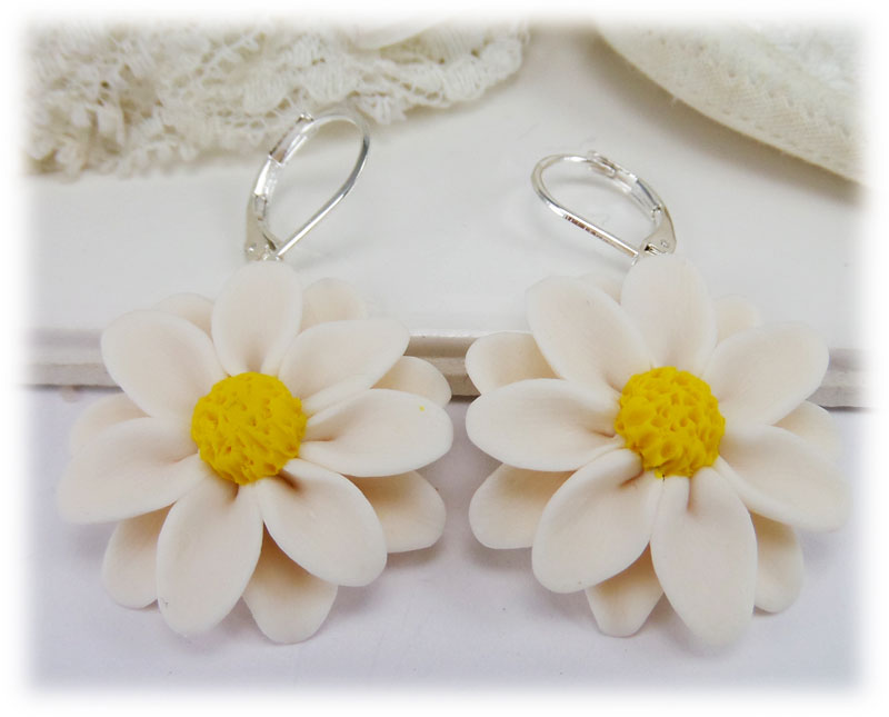 flower product daisy drop earrings double