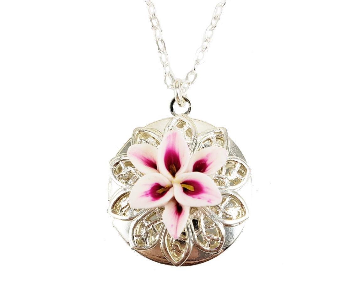 Stargazer Lily Locket Necklace Pink Lily Jewelry