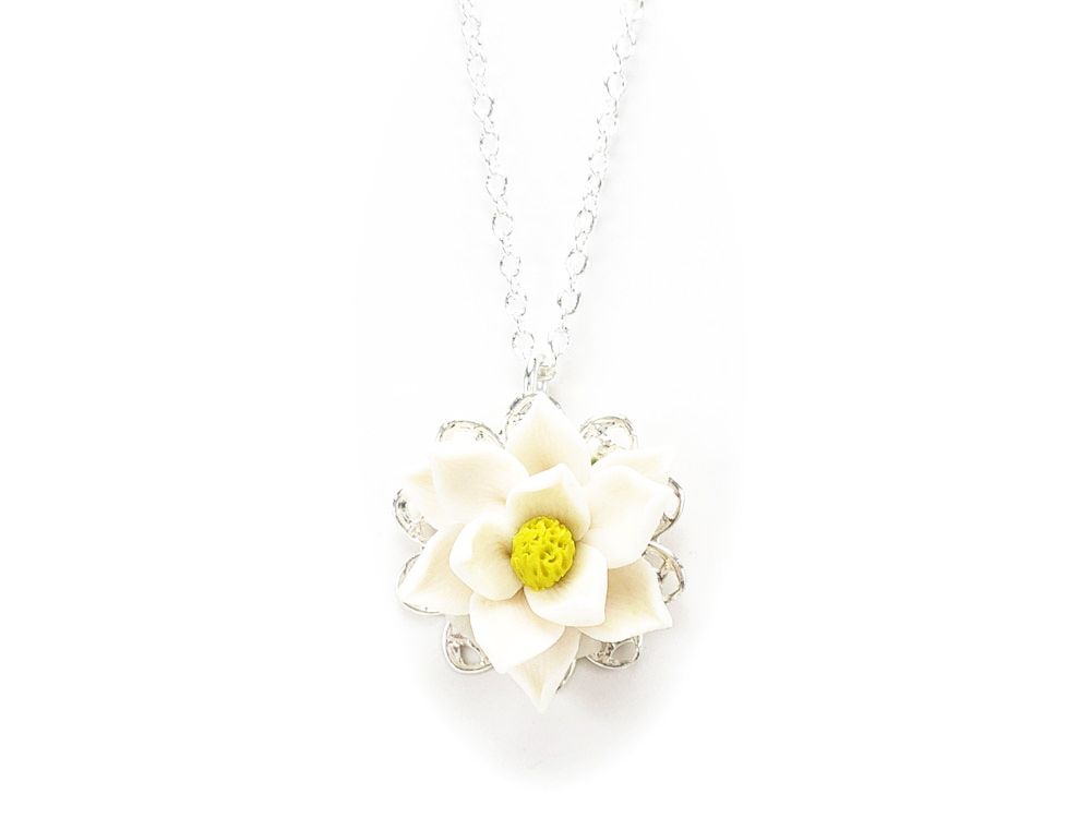 Magnolia Charm Necklace Magnolia Jewelry Stranded