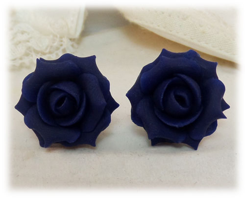 Navy Blue Rose Stud Earrings Navy Rose Clip On Earrings