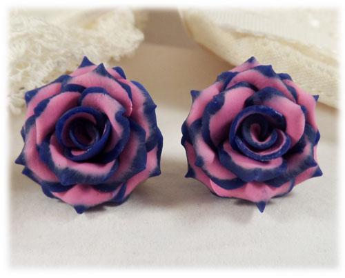 Blue Tipped Pink Rose Stud Earrings