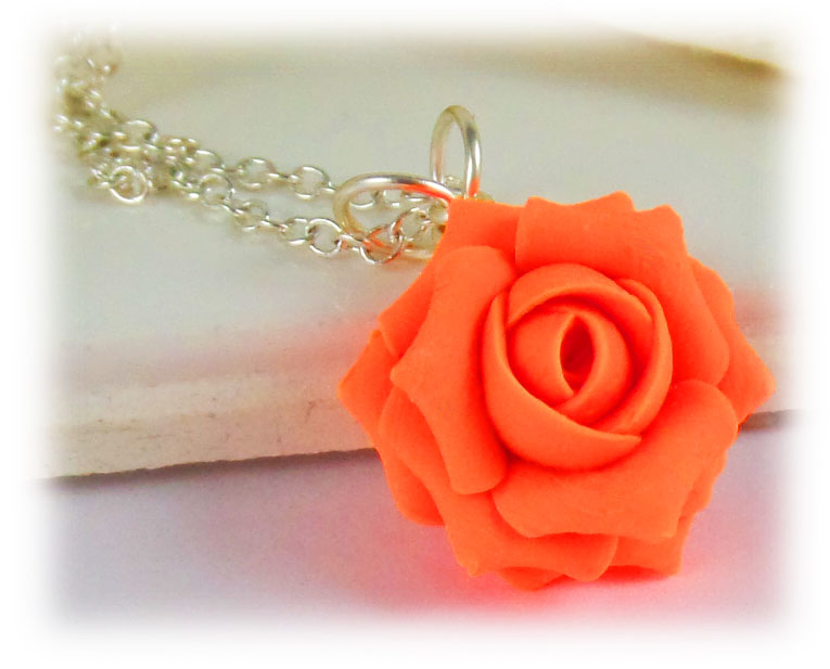 Neon Orange Rose Necklace Fluorescent Orange Flower