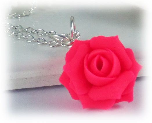 neon pink rose necklace fluorescent pink flower necklace
