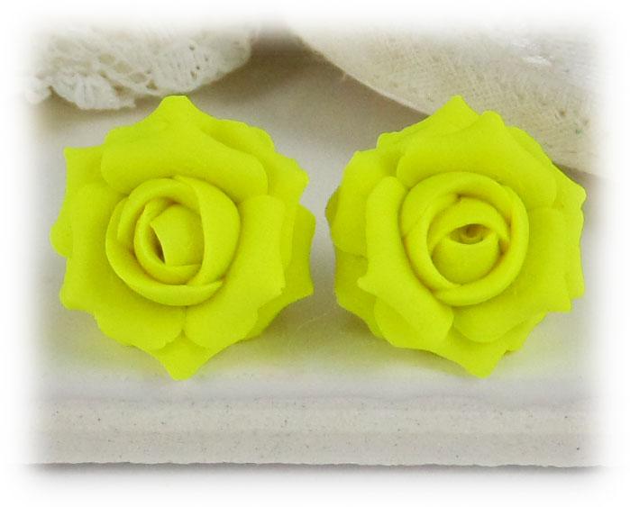 Neon yellow rose stud earrings clip on earrings neon yellow rose stud earrings mightylinksfo