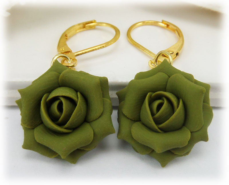 Olive Green Rose Drop Earrings Amp Dangle Earrings