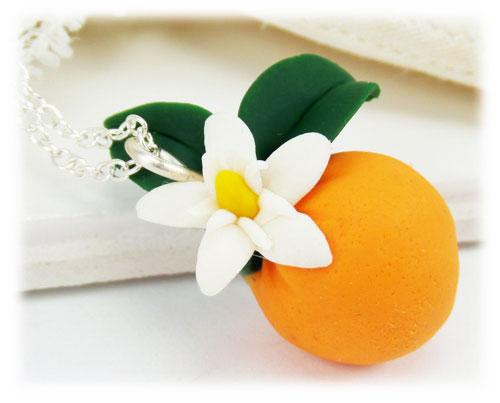 Orange Blossom Necklace Citrus Fruit Necklace Stranded