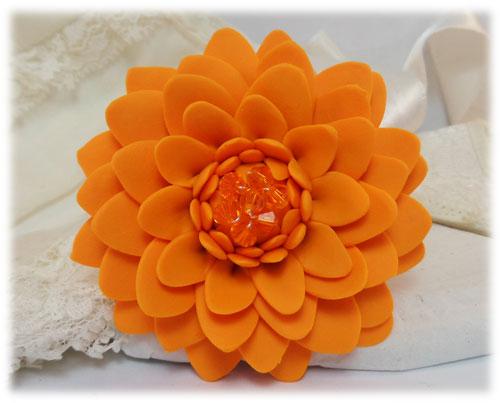 8add6c6a94c Large Orange Chrysanthemum Brooch   Large Orange Flower Lapel - Stranded  Treasures