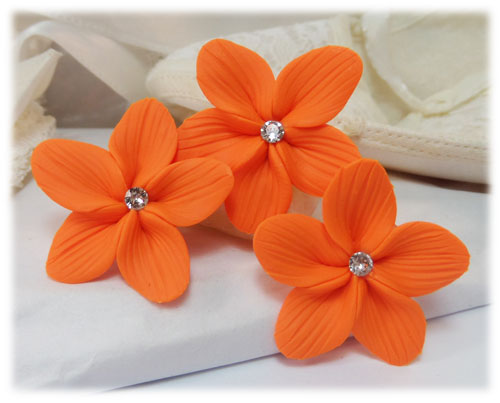 Orange Hair Flowers Orange Flower Wedding Hair Pins