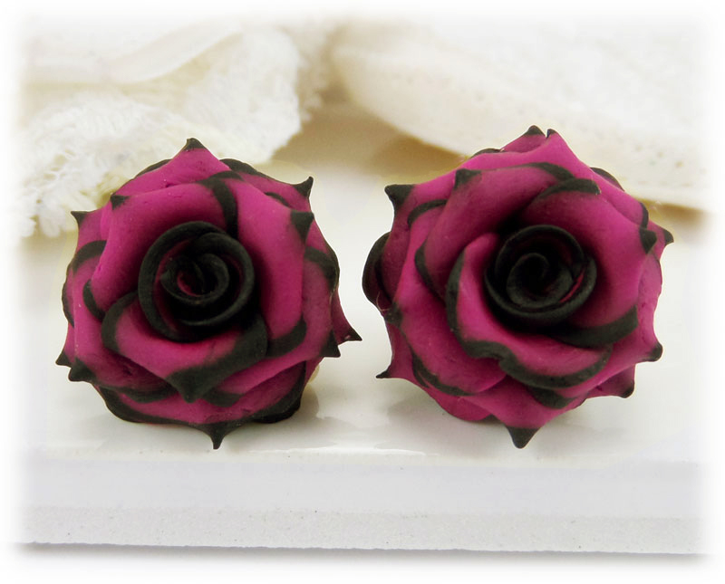Pink flower jewelry pink hair flowers black tipped pink rose stud earrings mightylinksfo