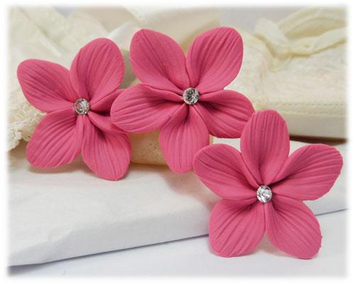Pink Hair Flowers Pink Flower Wedding Hair Pins Stranded Treasures