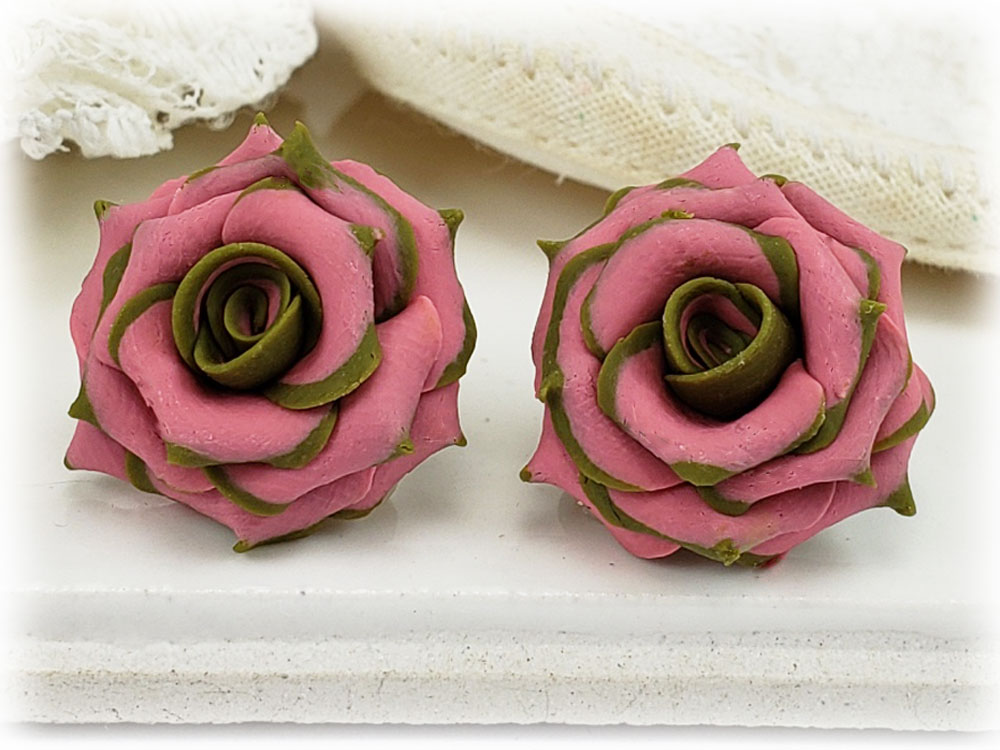 Olive Tipped Pink Rose Stud Earrings