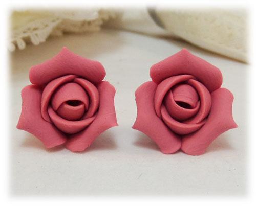 Pink Rosebud Stud Earrings