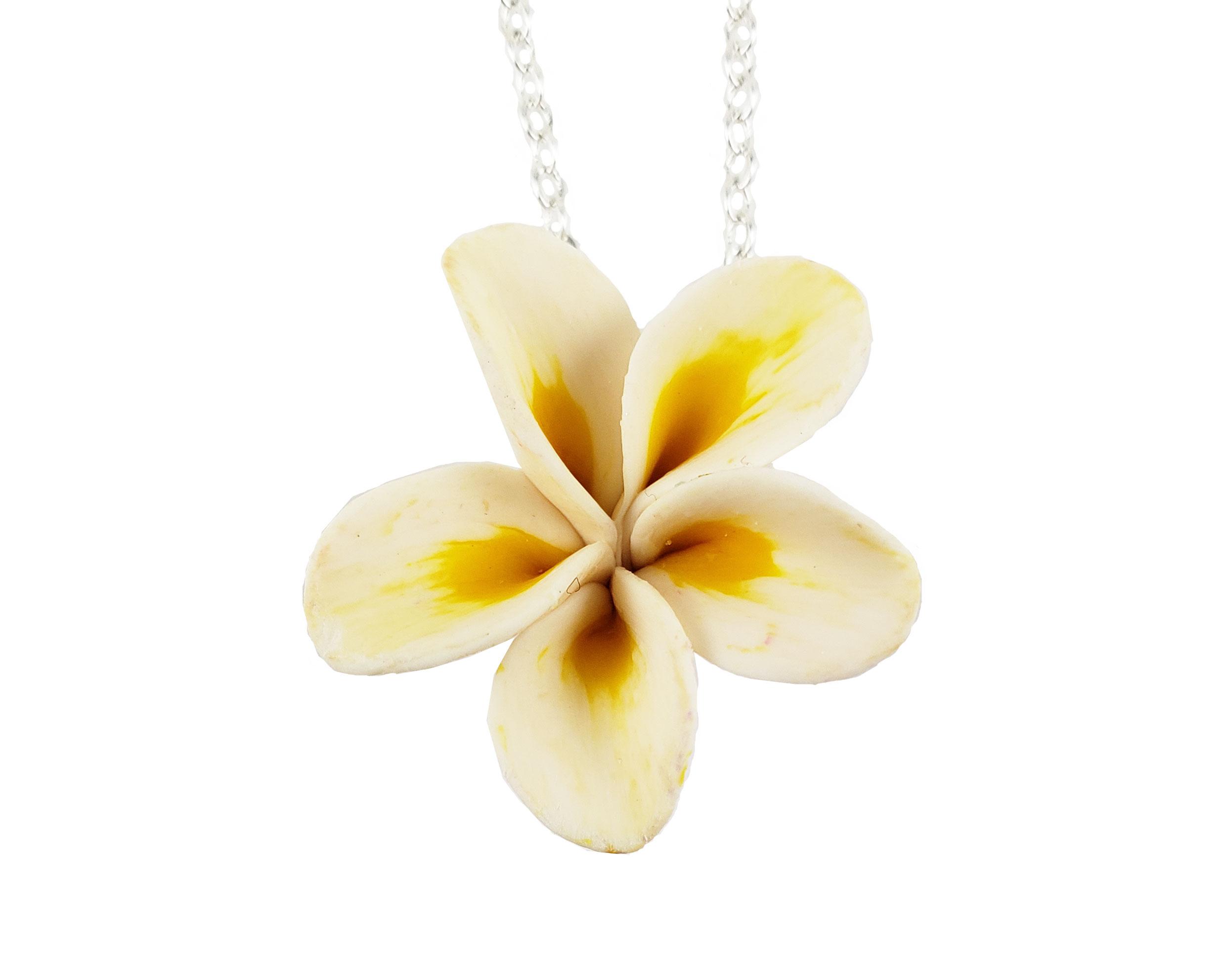 white plumeria necklace plumeria pendant